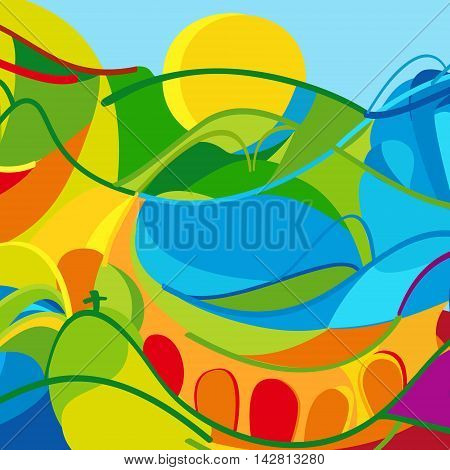 Olympic and Paralympic Games Abstract background in summer color. Brazilian Abstract colorful wavy lines and shapes. Summer games, kids sport, children Holiday background. Vector Illustration. For Art, Print, web design. Rio 2016, Brazil, Carnival, Kids S
