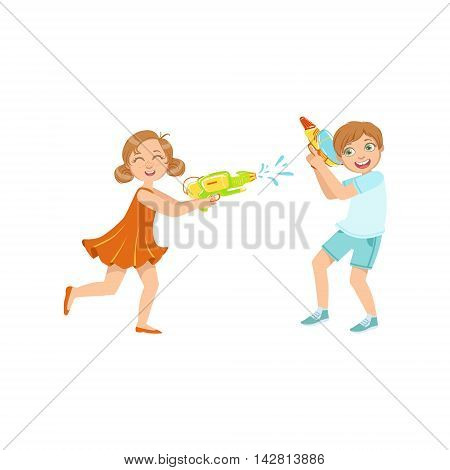 Boy And Girl Playing Water Pistols Fight Colorful Flat Bright Color Vector Illustration On White Background