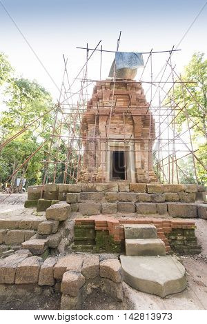 Old Cambodian Temple Construction And Rebuild In Thailand.