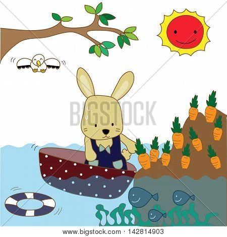 Cute rabbit rows her boat to harvest her carrot