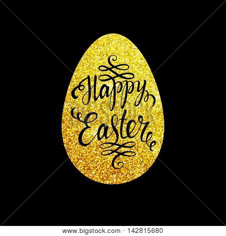 Easter lettering in gold egg on black background. Easter card. Happy easter text. Easter sunday. Gold easter egg. Easter holiday for invitation and card. Vector illustration.