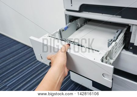 Pull printer tray check the paper inside