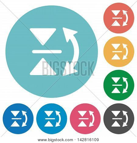 Flat vertical flip icon set on round color background.