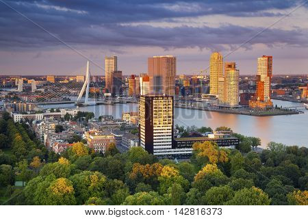 Rotterdam. Image of Rotterdam, Netherlands during summer sunset.