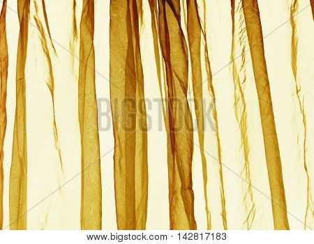 Voile curtain background in bright yellow colour