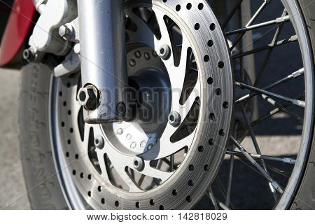 modern disk brake system on a motorcycle