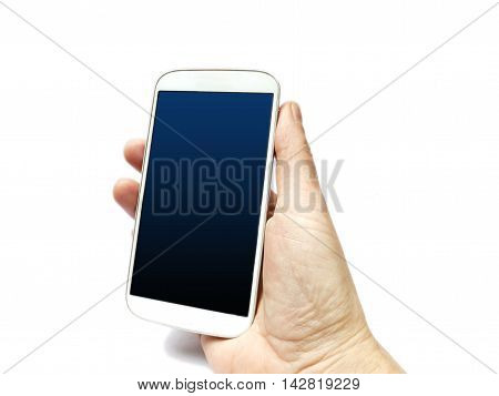 Smart Phone Hand Held Isolated On White
