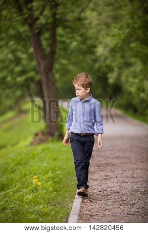 Cute little kid boy walking on the raod in the summer park. Summer forest background. School boy outdoors.
