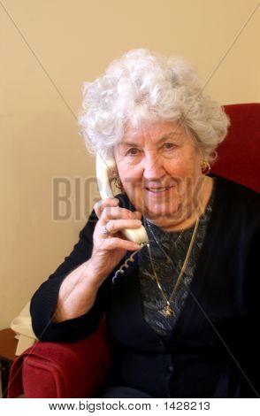 Gran Listening On Phone