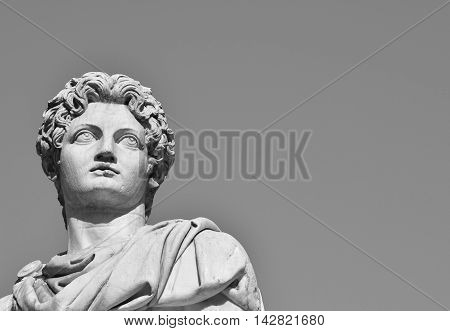 Ancient marble statue of Dioskouri at the top of monumental balustrade in Capitoline Hill Rome, with copy space (B/W)