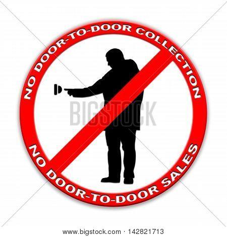 Do not ring doorbell sign door-to-door sales, door-to-door charity collectors  isolated on white English