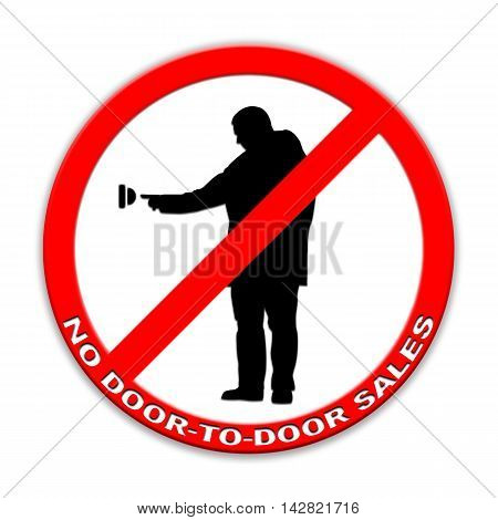 Do not ring doorbell sign door-to-door sales two persons  isolated on white English