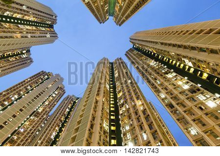 Resident apartment building from low angle