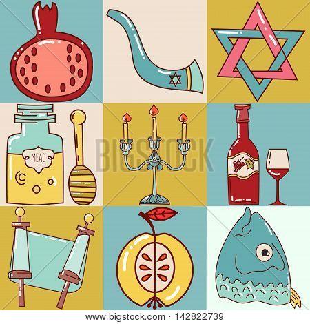 Set Jewish new year icons. Happy Shana Tova.