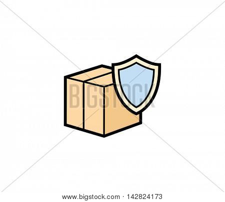 Safe delivery box icon. Vector illustration of parcel box