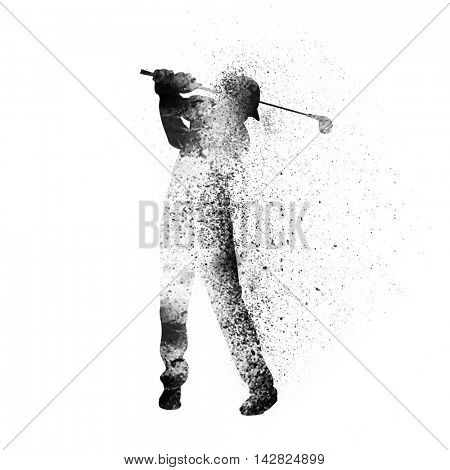 Golfer ready to take tee shot on white background, Creative vector illustration made by abstract splash for Sports concept.