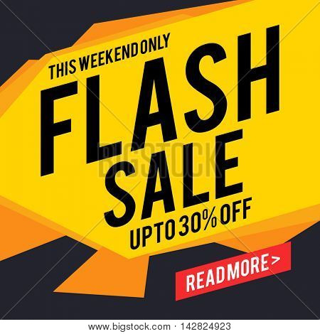 Flash Sale with Upto 30% Discount Offer for this weekend only, Creative Poster, Banner or Flyer design, Vector illustration.