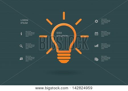 Light bulb idea inspiration concept. Lighted lamp. Solution sign. Template background for your creative design, print, booklet, brochure, website, webdesign, mobile app. Vector illustration