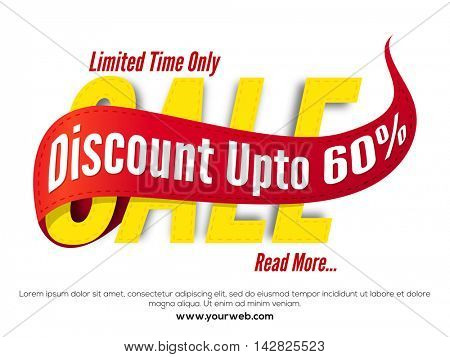 Creative Paper Text Sale with Red Ribbon showing discount upto 60%, Stylish Poster, Banner or Flyer design, Vector illustration.
