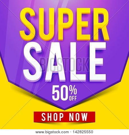 Super Sale with 50% Discount Offer, Creative typographical background, Can be used as Poster, Banner or Flyer design.