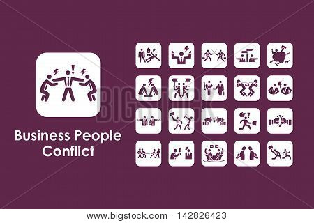 It is a set of business people conflict simple web icons