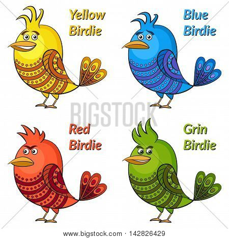 Set of Funny Colorful Birds of Different Colors and Moods, Blue Sad, Red Angry, Yellow Cheerful and Green Insidious, Cute Patterned Cartoon Character, Isolated on White Background. Vector