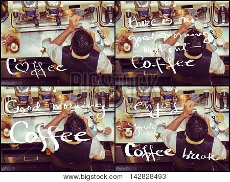 Photo Collage Of Barista And Coffee Machines, Vintage Filter Applied