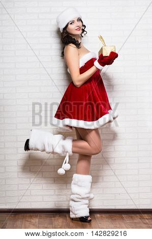 Sexy Woman Wearing Like Santa`s Helper
