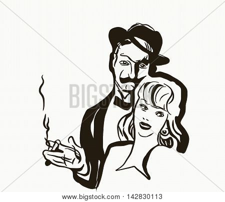 sketch of a man with a black mustache a hat smoking a cigarette in his hand and a woman with short hair on the head