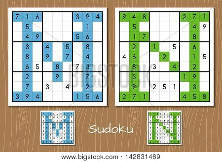 Sudoku vector set with answers. M, N letters