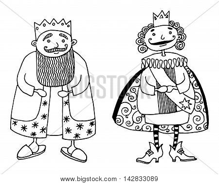 Cartoon two kings on white background, vector