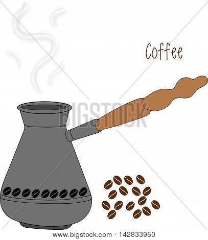 Turkish fishborn coffee pot prepared with coffee roasting. Ibrik cezve coffee pot and ibrik cezve caffeine breakfast vintage copper. Ibrik cezve for coffee pot beverage caffeine breakfast vector