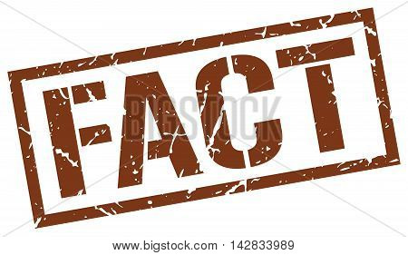 fact stamp. brown grunge square isolated sign