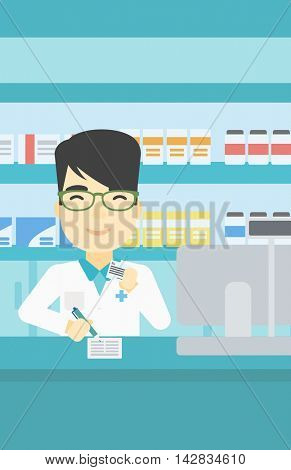 An asian young male pharmacist writing on clipboard and holding prescription in hand. Pharmacist in medical gown standing at pharmacy counter. Vector flat design illustration. Vertical layout.