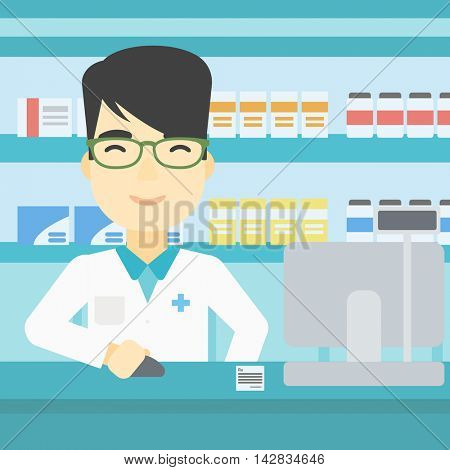 An asian young pharmacist in medical gown standing at pharmacy counter and working on a computer. Male pharmacist in the drugstore. Vector flat design illustration. Square layout.