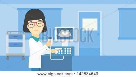 An asian young female doctor with ultrasound scanner in the hands. Female doctor working on modern ultrasound equipment at medical office. Vector flat design illustration. Horizontal layout.