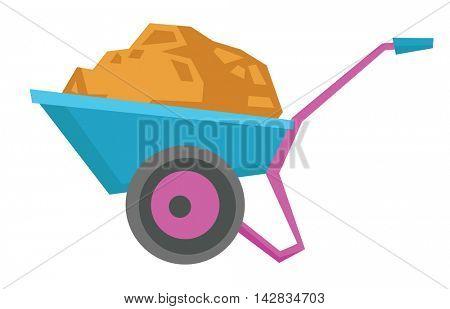 Wheelbarrow full of sand vector flat design illustration isolated on white background.