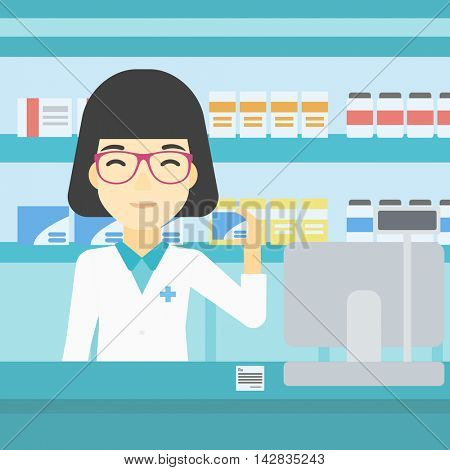 An asian young pharmacist standing at the counter and showing some medicine. Female pharmacist holding a box of pills in the pharmacy. Vector flat design illustration. Square layout.