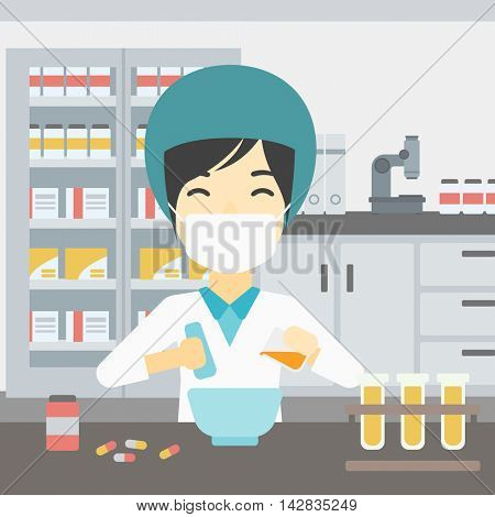 Asian female pharmacist in mask using mortar and pestle for preparing medicine in the laboratory. Pharmacist mixing medicine at the hospital pharmacy. Vector flat design illustration. Square layout.