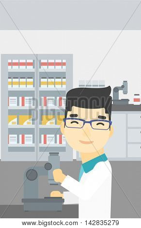 An asian male laboratory assistant working with microscope at the laboratory. Young scientist using a microscope in a laboratory. Vector flat design illustration. Vertical layout.