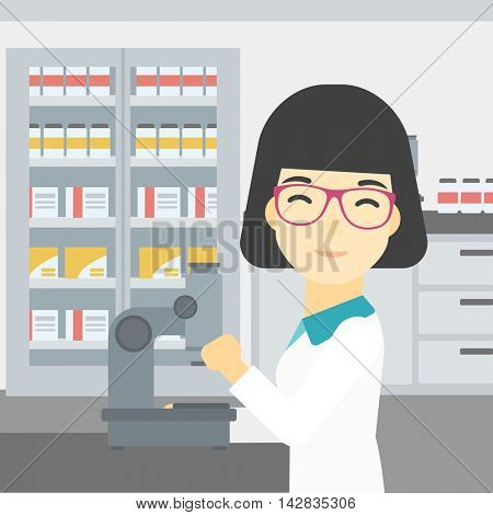 An asian female laboratory assistant working with microscope at the laboratory. Young scientist using a microscope in a laboratory. Vector flat design illustration. Square layout.