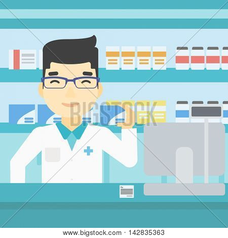 An asian young pharmacist standing at the counter and showing some medicine. Male pharmacist holding a box of pills in the pharmacy. Vector flat design illustration. Square layout.