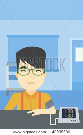 Asian man checking his blood pressure with digital blood pressure meter. Man taking care of his health and measuring blood pressure in hospital room. Vector flat design illustration. Vertical layout.