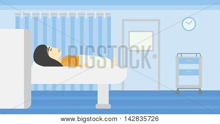 An asian young woman undergoes a magnetic resonance imaging scan test at hospital room. Magnetic resonance imaging machine scanning patient. Vector flat design illustration. Horizontal layout.