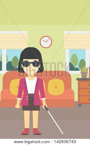 An asian blind woman standing with walking stick. Young woman in dark glasses with cane standing in the living room. Vector flat design illustration. Vertical layout.