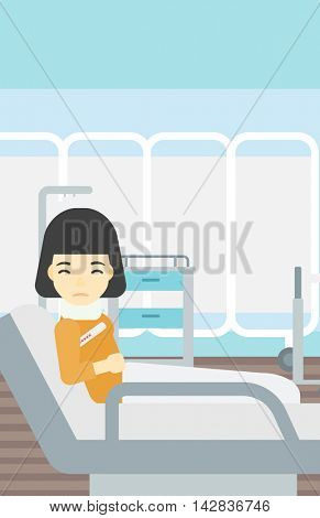 An asian woman suffering from neck pain. Young woman with injured neck lying in bed in hospital ward. Woman with neck brace. Vector flat design illustration. Vertical layout.