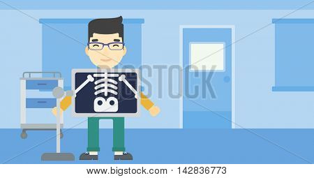 An asian patient during chest x ray procedure in examination room. Young man with x ray screen showing his skeleton at doctor office. Vector flat design illustration. Horizontal layout.