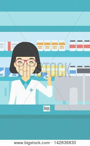 An asian young pharmacist standing at the counter and showing some medicine. Female pharmacist holding a box of pills in the pharmacy. Vector flat design illustration. Vertical layout.