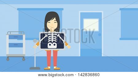 An asian patient during chest x ray procedure in examination room. Young woman with x ray screen showing his skeleton at doctor office. Vector flat design illustration. Horizontal layout.