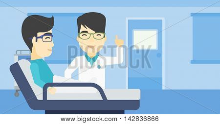 An asian doctor visiting male patient at hospital ward. Doctor pointing finger up during consultation with patient in hospital room. Vector flat design illustration. Horizontal layout.